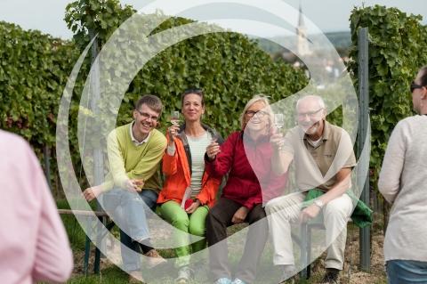 Weinfestbesucher in den Weinbergen
