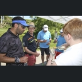 Golf Challenge Teilnehmer am RS Rheinhessen Silvaner Stand