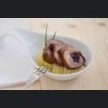 Minispießbraten mit Dornfelderzwiebeln und Kartoffel Quitten Stampf