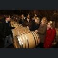 Jochen Dreissigacker mit den Weinmajestaeten im Barriquekeller