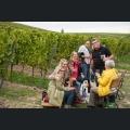 Weinwanderer an einer Station